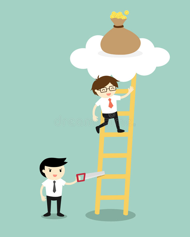 Affärsidéen affärsman klättrar stegen för får en påse av pengar men en annan affärsman som sågar en stege vektor illustrationer