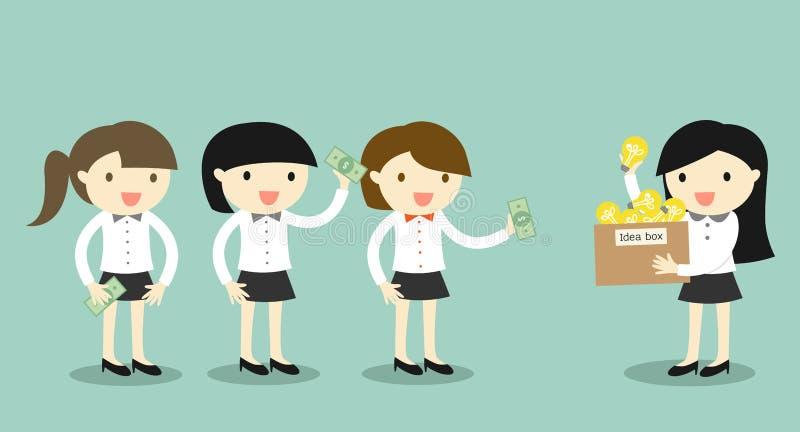 Affärsidéen affärsmankvinna säljer hennes idé till en andra affärskvinnor vektor illustrationer