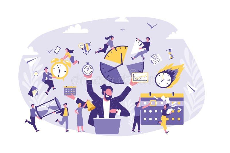 Affärsidéen av Tid ledning, produktivitet, organiserar vektor illustrationer