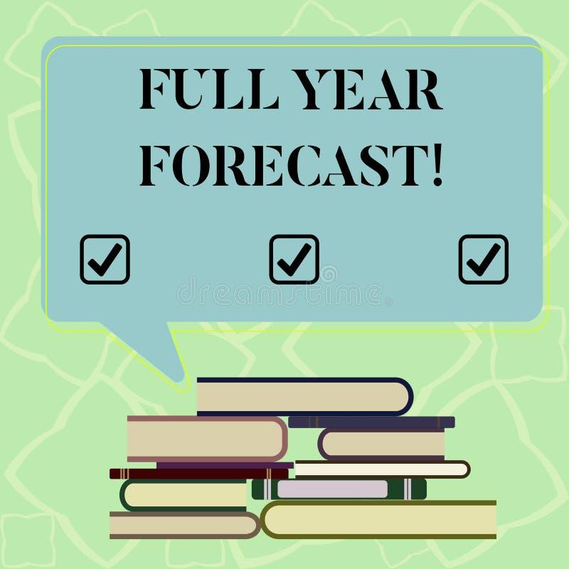 Affärsidéen för prognosen för året för ordhandstiltext formulerar den fulla för bedömning av aktuell finansiell perforanalysisce royaltyfri illustrationer