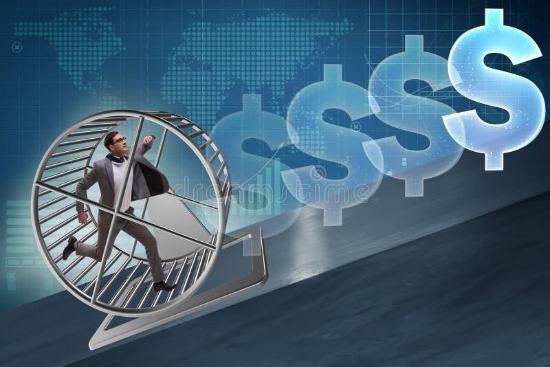 Affärsidéen med affärsmanspring på hamsterhjulet royaltyfria foton