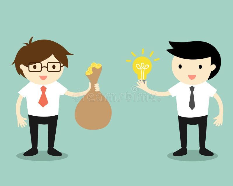 Affärsidéen två affärsmän ger idé och pengar för utbyte också vektor för coreldrawillustration royaltyfri illustrationer