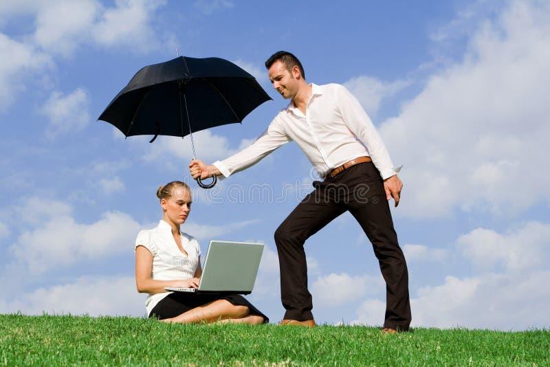 affärsidéförsäkringteamwork royaltyfria bilder