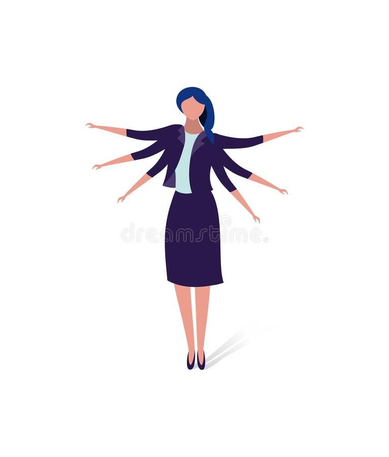 Affärsidéillustration av en affärskvinna med många händer, begrepp för multitasking multitasking designbegrepp vektor illustrationer