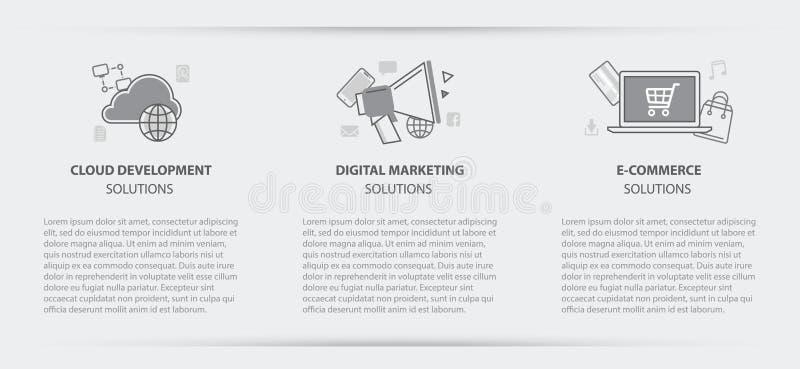 Affärsidémenybaner av den digitala marknadsföringen för moln stock illustrationer