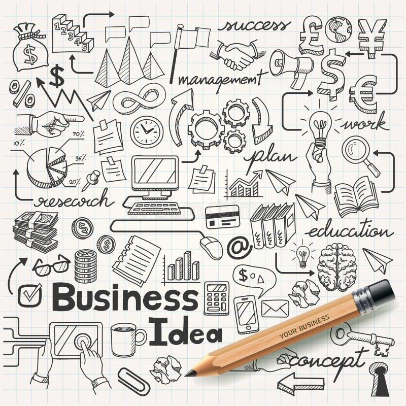 Affärsidén klottrar symbolsuppsättningen. stock illustrationer
