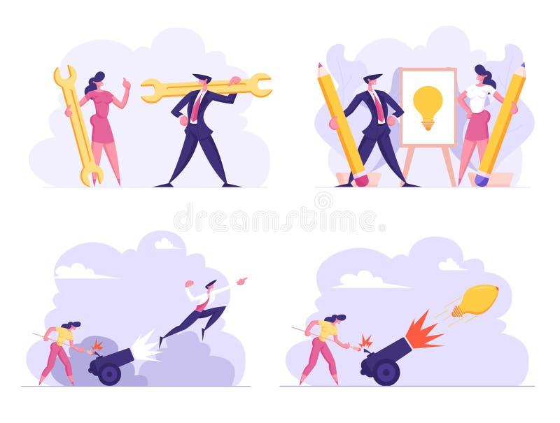 Affärsidén, teknisk service, startar upp begreppsuppsättningen Kvinnan ställde in på brandkanonen med affärsmannen Flying Up karr stock illustrationer