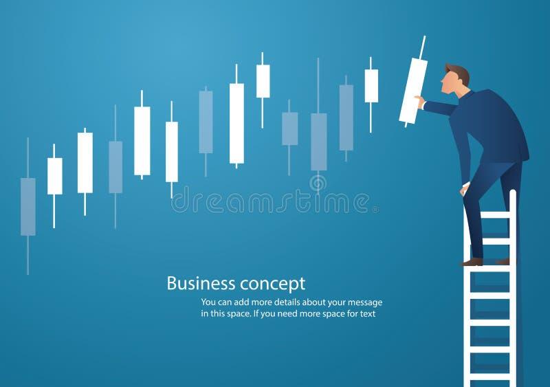 Affärsidévektorillustration av en man på stege med ljusstakediagrambakgrund, begrepp av aktiemarknaden vektor illustrationer