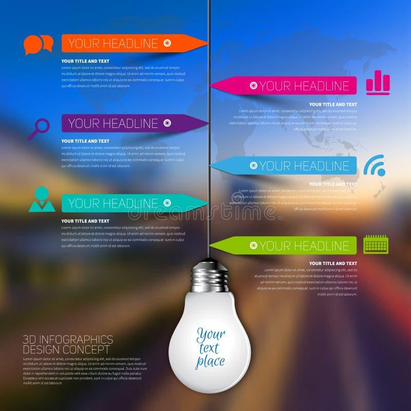affärsInfographic för ljus kula 3d mall Datavisualization stock illustrationer