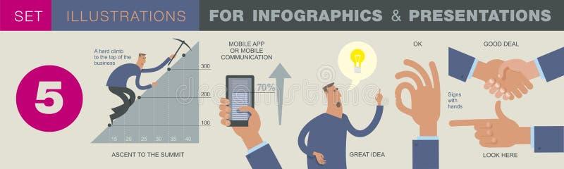 Affärsinfographics med illustrationer av affärslägen, investeringsobjekt royaltyfri illustrationer