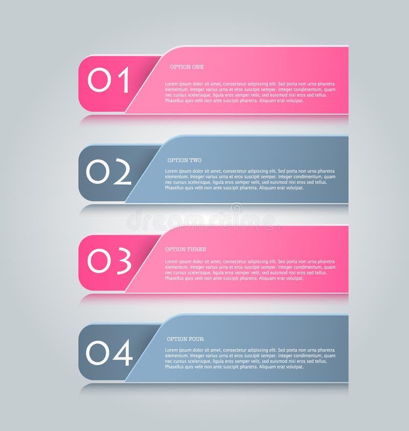 Affärsinfographicsen tabs mallen för presentationen, utbildning, rengöringsdukdesignen, banret, broschyren, reklamblad vektor illustrationer