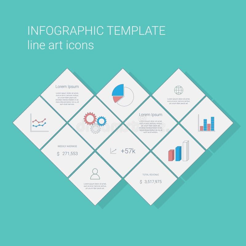 Affärsinfographicsmall med linjen symboler för grafer och pajdiagram Presentation för projektledning vektor illustrationer