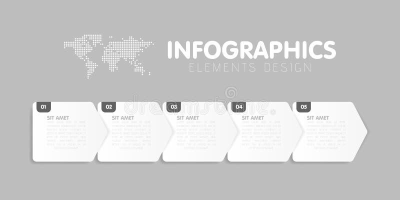 Affärsinfographicsmall Timelinen med 5 pilmoment, fem numrerar alternativ vektor stock illustrationer