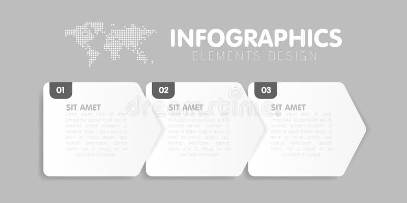 Affärsinfographicsmall Timelinen med 3 pilmoment, tre numrerar alternativ vektor royaltyfri illustrationer