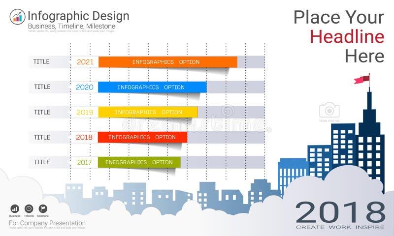 Affärsinfographicsrapport, milstolpetimeline eller färdplan med alternativ för processflödesdiagram 4 royaltyfri illustrationer