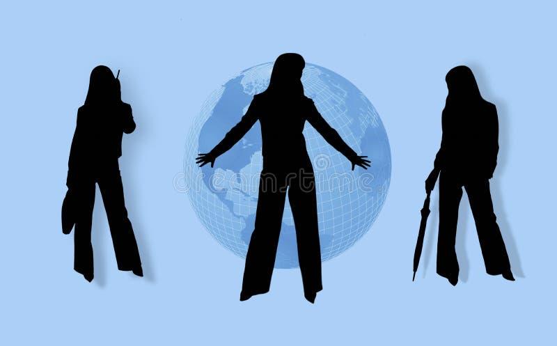 affärsjordklotkvinnor royaltyfri illustrationer