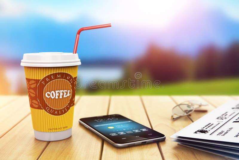 Affärskaffeavbrott utomhus stock illustrationer