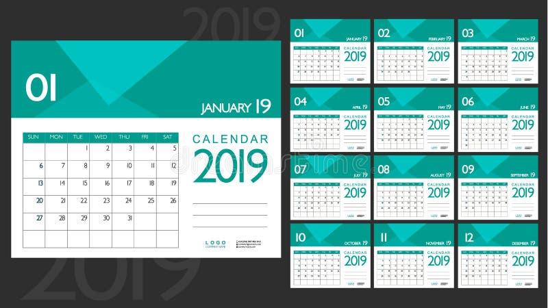 Affärskalender 2019 Minsta plan design royaltyfri illustrationer