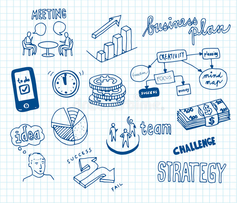 Affärsklotter stock illustrationer