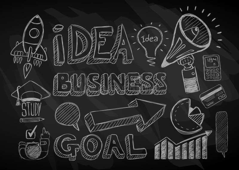 Affärsklotter skissar uppsättningen: infographicsbeståndsdelar, stock illustrationer