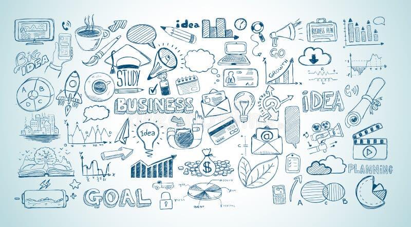 Affärsklotter skissar uppsättningen: isolerade infographicsbeståndsdelar, royaltyfri illustrationer