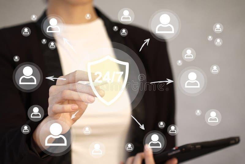 Affärsknapp 24 timmar tecken för nätverk för virus för servicesköldsäkerhet fotografering för bildbyråer