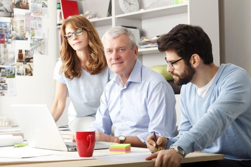 Affärskollegor som arbetar på en bärbar dator arkivbild