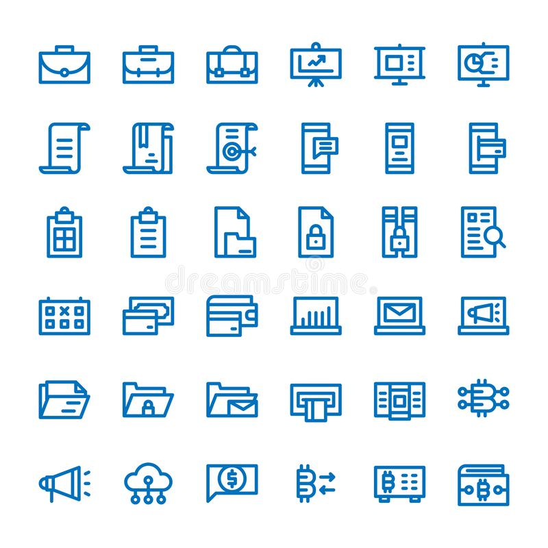 Affärskommunikation och för översiktssymboler för pengar finansiell uppsättning vektor illustrationer