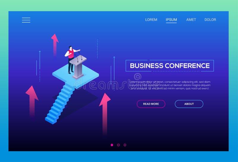 Affärskonferens - modern isometrisk vektorwebsitetitelrad royaltyfri illustrationer