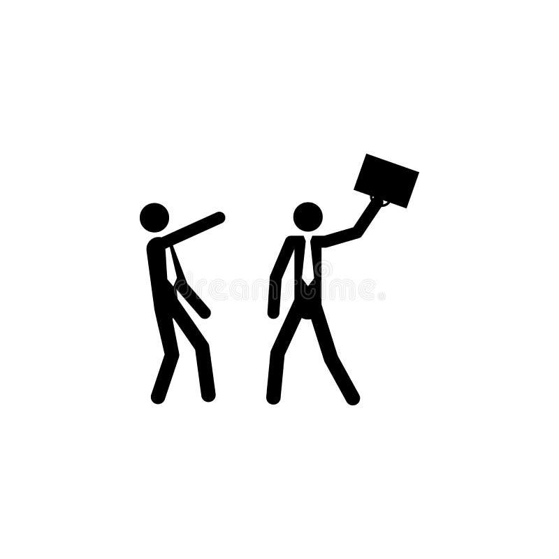 Affärskonfliktbegrepp Två affärsmän som slåss symbolen på vit bakgrund vektor illustrationer