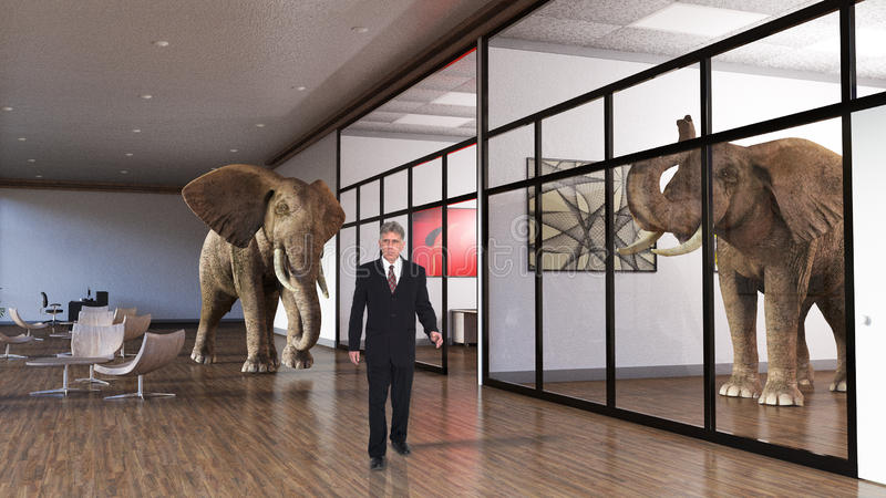 Affärskontor, försäljningar, marknadsföring, elefanter