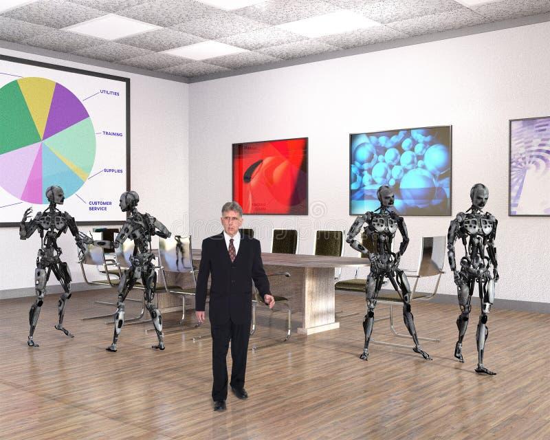 Affärskontor, teknologi, robotar, försäljningar royaltyfri foto