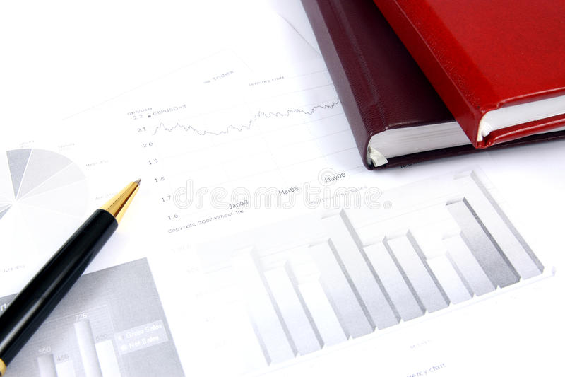 affärskontrollrapporter arkivfoto