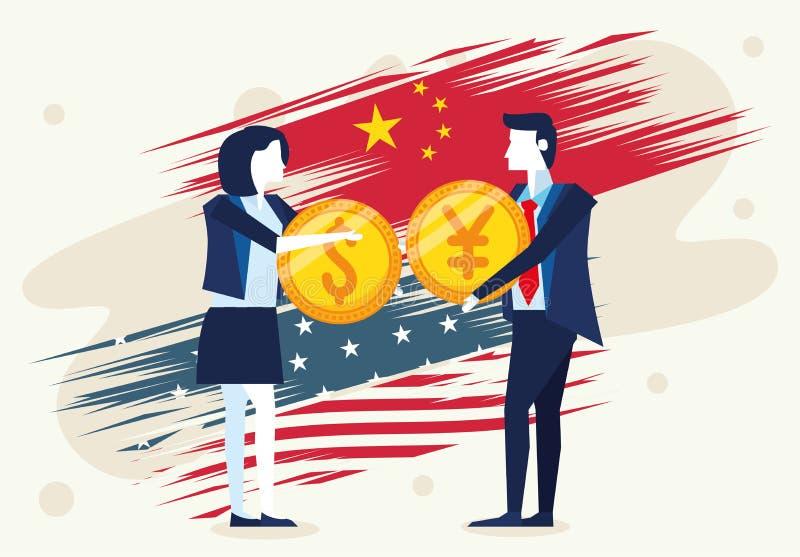 Affärskop med mynt och yen-pengar royaltyfri illustrationer