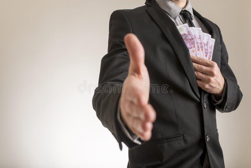Affärskorruption eller mutabegrepp arkivfoton