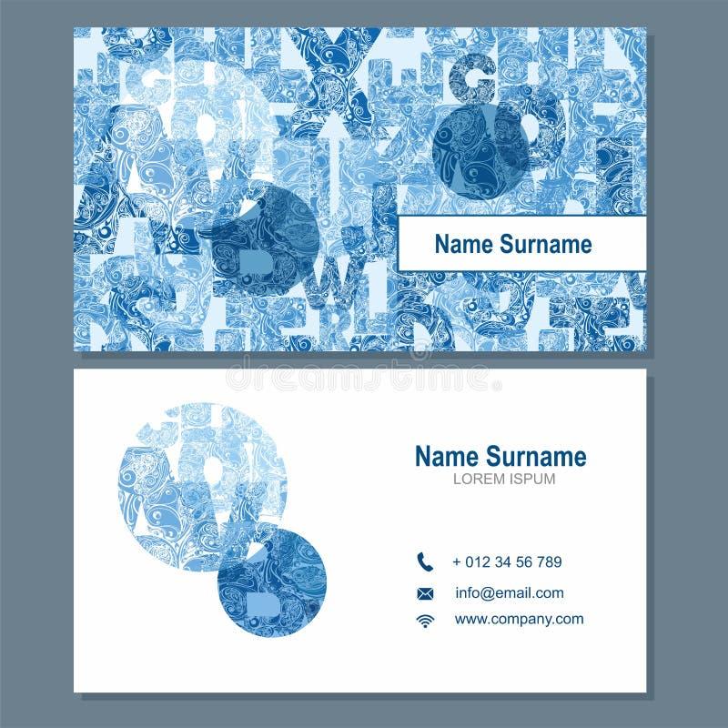 Affärskort eller visitkortmall med abstrakt beståndsdello vektor illustrationer