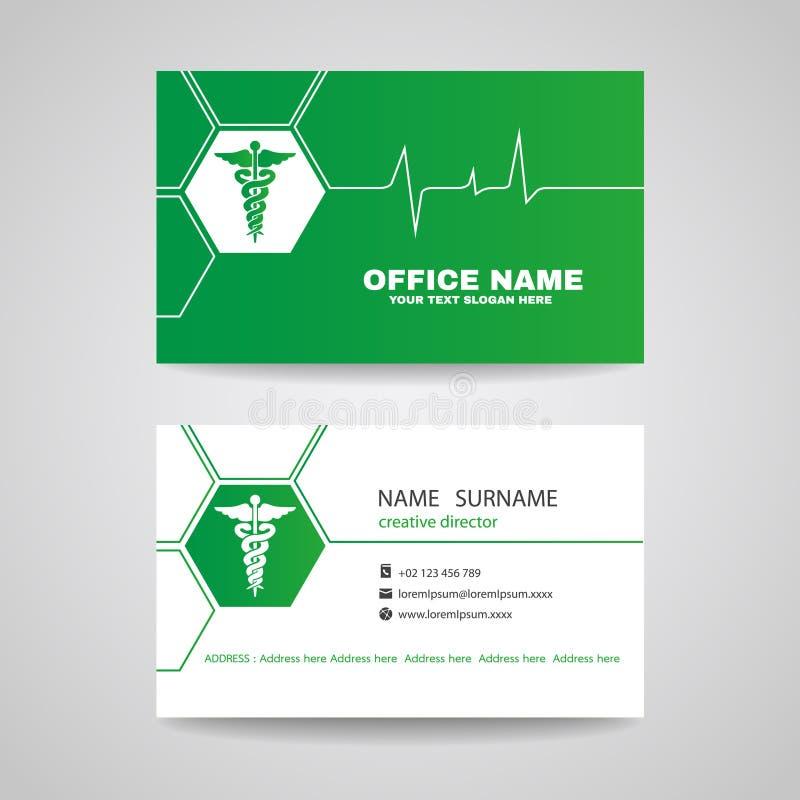 Affärskort för medicinsk sjukvård - den gröna caduceusen och vågor av hjärtavektorn planlägger royaltyfri illustrationer