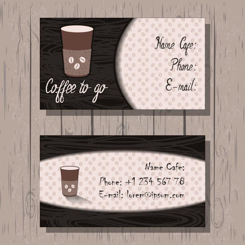 Affärskort, företags identitet på kaffehus, stock illustrationer