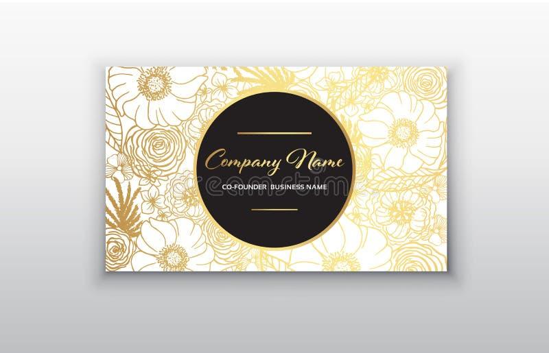 Affärskort - guld- blom- ram Stilfull guld- högvärdig lyxig design för mall för affärskort stock illustrationer