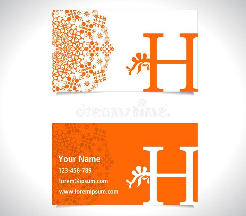 Affärskort med alfabetbokstavsH, idérikt begrepp för H-bokstavslogo royaltyfri illustrationer
