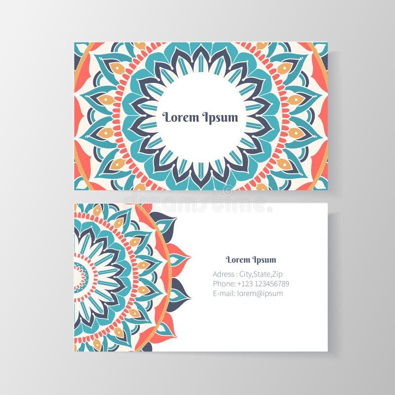 Affärskort med den blom- modellen för mandala royaltyfri illustrationer
