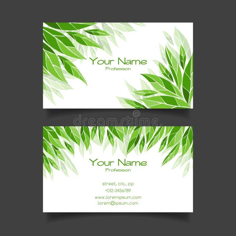Affärskort med gröna sidor kantlagrar låter vara vektorn för oakbandmallen royaltyfri illustrationer