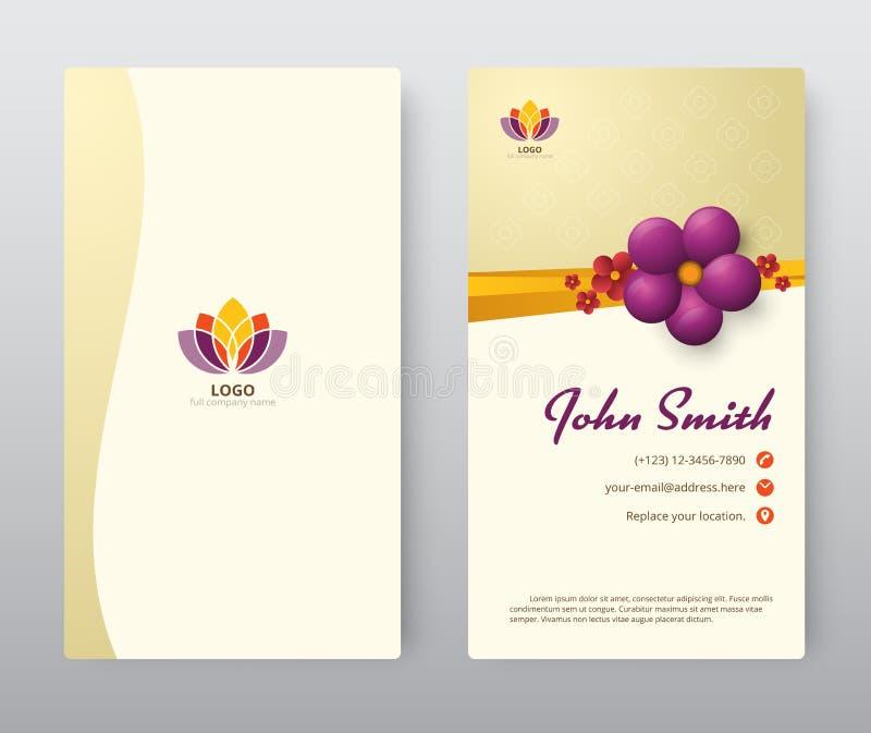 Affärskort med purpurfärgad blom- malldesign Vektorillustr vektor illustrationer