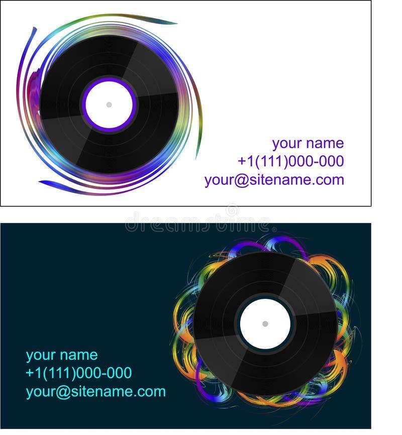 Affärskort med vinylrekord royaltyfri foto