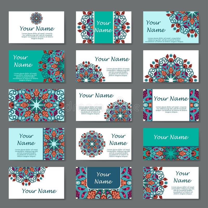 affärskort mer min portföljset Tappningmodell i retro stil med mandalaen Räcka utdragen islam, arabiskan, indier, snöra åt modell royaltyfri illustrationer