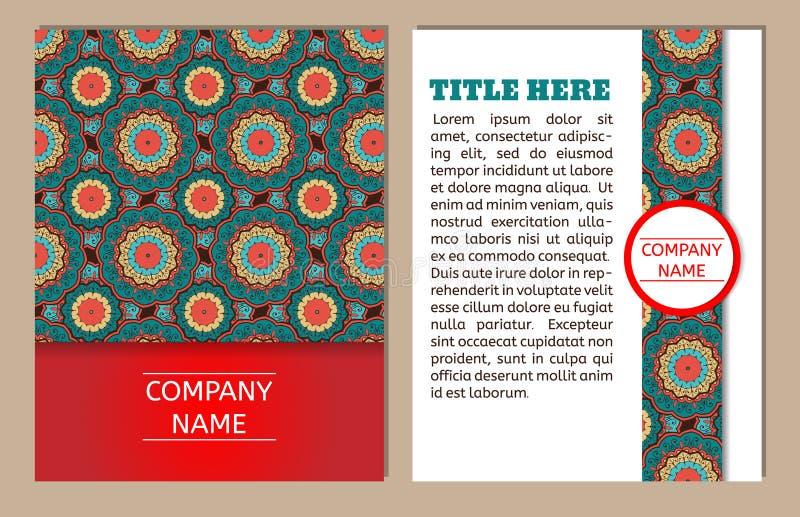 affärskort mer min portföljset Tappningmodell i retro stil med mandalaen Räcka utdragen islam, arabiskan, indiern, ottomanmodell royaltyfri illustrationer