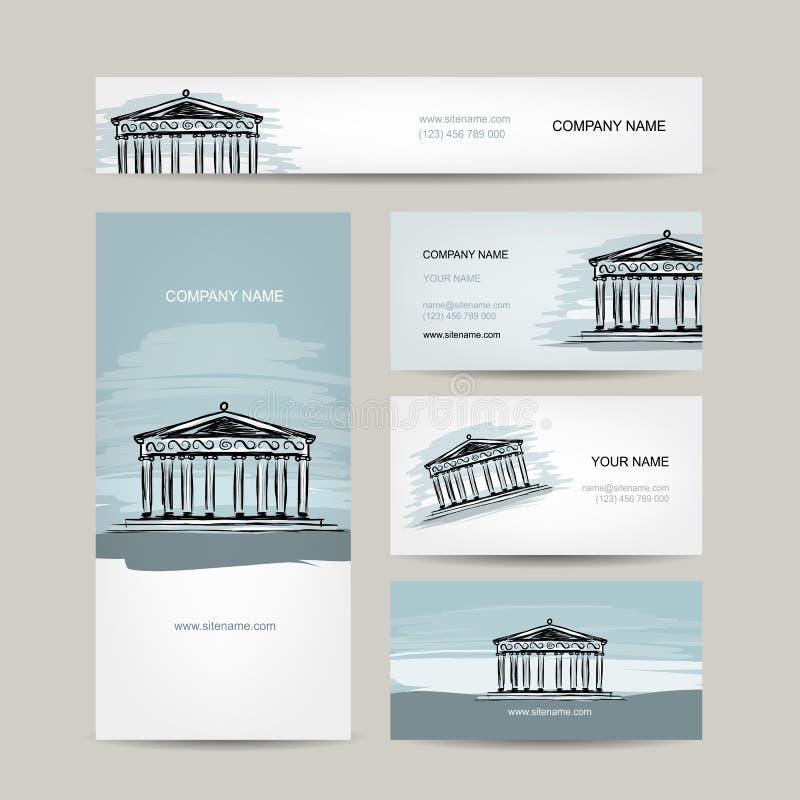 Affärskortdesign, antik stilbyggnad med vektor illustrationer