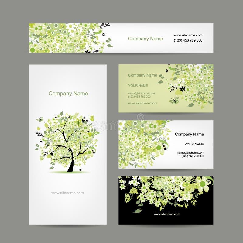 Affärskortdesign, blom- vårträd royaltyfri illustrationer