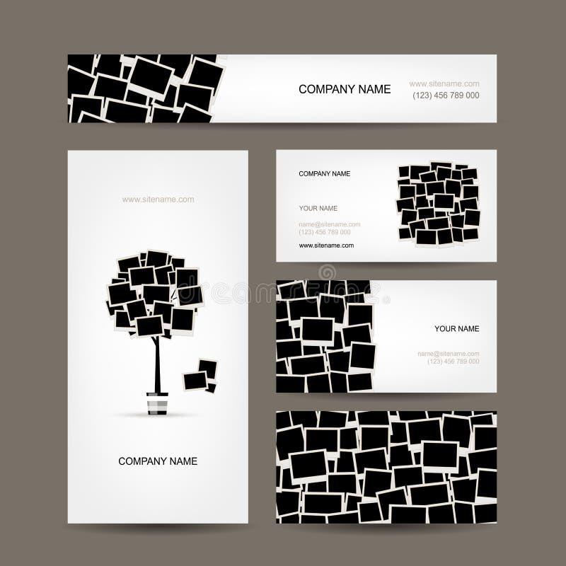 Affärskortdesign, fotoramar vektor illustrationer