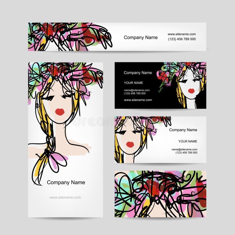 Affärskortdesign med det kvinnliga blom- huvudet vektor illustrationer